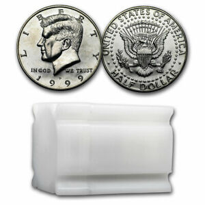 Click now to see the BUY IT NOW Price! 1999 D KENNEDY HALF DOLLAR 20 COIN ROLL BU   SKU28338