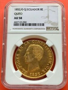Click now to see the BUY IT NOW Price! VERY     GOLD COIN 8 ESCUDOS QUITO  ECUADOR  YEAR 1852/0 NGC AU58