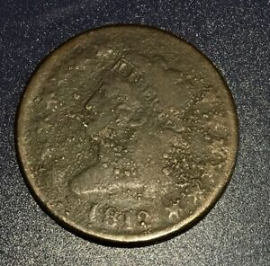 1812 LARGE CENT LARGE DATE AG G OVERALL WITH F DETAILS AND SOME CORROSION