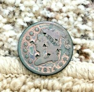 1814 CLASSIC HEAD LARGE CENT VG F DETAILS 7 NEAT TRIANGULAR PUNCHES ON FRONT