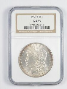 MS63 1901 S MORGAN SILVER DOLLAR   GRADED NGC  7879
