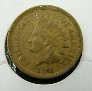 1861 INDIAN HEAD CENT PENNY  VF COLLECTOR COIN BETTER DATE  672