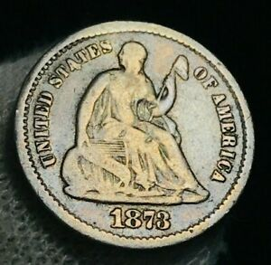 1873 S SEATED LIBERTY HALF DIME 5C HIGH GRADE VF DETAILS US SILVER COIN CC2297