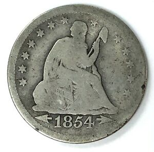 1854 O SEATED LIBERTY SILVER QUARTER  TYPE 4   WITH ARROWS AT DATE NO MOTTO