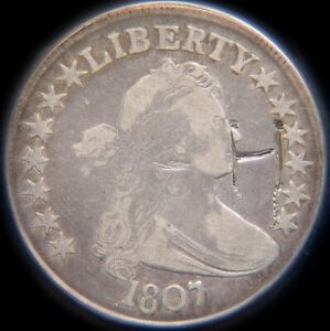 1807 DRAPED BUST HALF DOLLAR 50C | ANACS VG10 DETAILS   GRAFFITI CLEANED