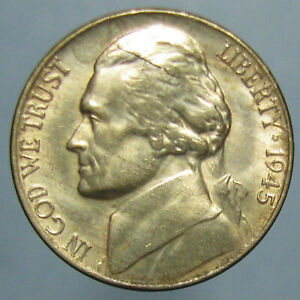 Click now to see the BUY IT NOW Price! GEM BU 1945 P JEFFERSON WAR NICKEL   LAMINATIONS ON BOTH SIDES