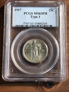 1917 STANDING LIBERTY QUARTER TYPE 1 PCGS MS 63 FULL HEAD HIGH END