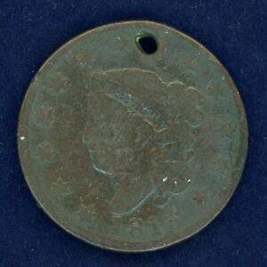 1818 USA ONE CENT COIN HOLED