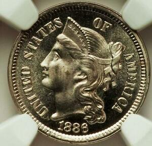 1886 3 CENTS NICKEL GRADED PF 67 CAMEO BY NGC  IN CAMEO