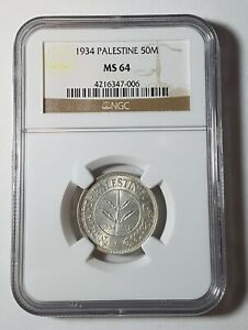 Click now to see the BUY IT NOW Price! NGC MS 64 PALESTINE 50 MILS 1934 SILVER