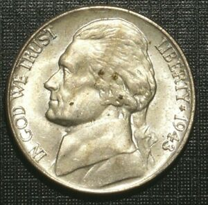 WWII SILVER 5 CENTS 1943  P UNITED STATES THOMAS JEFFERSON MONTICELLO  192A