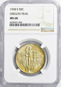 Click now to see the BUY IT NOW Price! 1938 S OREGON TRAIL COMMEMORATIVE 50C MS68 TONED  ONLY 18 EXIST AT THIS GRADE