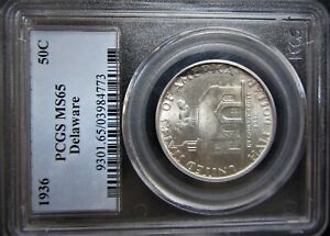 1936 DELAWARE COMMEMORATIVE PCGS GRADED MS65