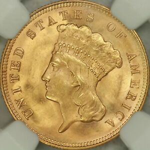1878 $3 GOLD NGC MS64