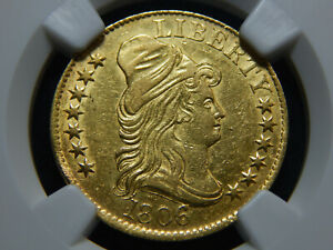1806 $5 GOLD DRAPED BUST HALF EAGLE ROUND 6 7X6 STARS AU 50 NGC  COIN