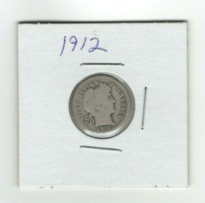 SILVER 1912 BARBER DIME  10 CENTS GOOD CONDITION SILVER COIN  NICE LOOKING DATE