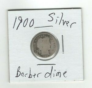SILVER 1900 BARBER DIME  10 CENTS GOOD CONDITION SILVER COIN  NICE LOOKING DATE