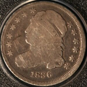 1836 CAPPED BUST DIME FULL SHARP RIMS DATE AND LEGENDS NICE TYPE COIN