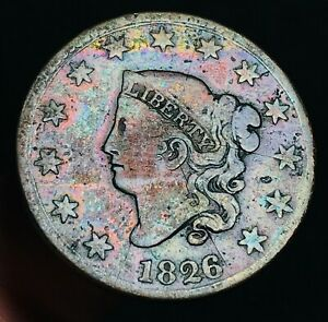 1826 US LARGE CENT CORONET HEAD 1C HIGH GRADE TONED VF DATE GOOD US COIN CS2560