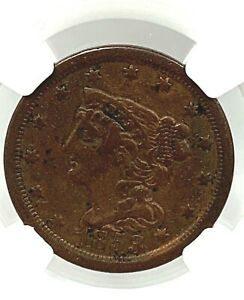 1853 1/2 HALF CENT C 1 BRAIDED HAIR COIN NGC VF DETAILS CLEANED