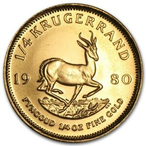 SOUTH AFRICA GOLD  1/4 OZ  KRUGERRAND   BU   1980
