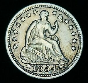 1854 SEATED LIBERTY HALF DIME 5C ARROWS XF AU HIGH GRADE US SILVER COIN CC2595