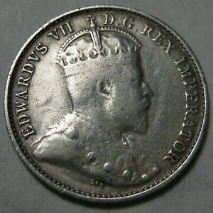 1903 H CANADA SILVER FIVE CENTS COIN   SHIPS FROM THE U.S.A. A    KM  13
