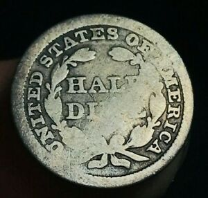 1855 SEATED LIBERTY HALF DIME 5C ARROWS UNGRADED GOOD DATE US SILVER COIN CC1632