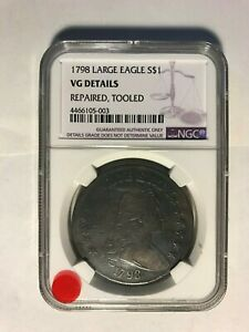 1798 DRAPED BUST $1 LARGE EAGLE SILVER DOLLAR   NGC VF DETAILS