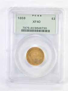 XF40 1859 $3.00 INDIAN PRINCESS HEAD GOLD PIECE   OGH PCGS UPGRADE?  4245