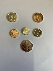 FULL SET OF UK DEFINITIVE SHIELD 6 COINS   BU CONDITION