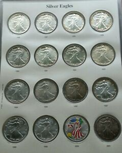 Click now to see the BUY IT NOW Price! 1986   2019 AMERICAN SILVER EAGLE CAPS ALBUM BOOK SET 34 COINS ALL BU TONED 1996