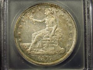 1877 S US TRADE SILVER DOLLAR ICG AU53 DETAILS CHOPMARKED  101