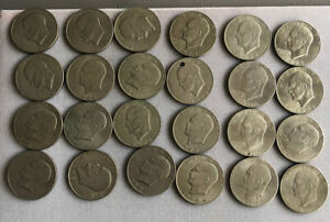 LOT OF 24 EISENHOWER DOLLARS   CIRCULATED 1971 1978 AND 1976