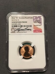 HISTORIC 2019 W SHIELD PENNY NGC GEM REVERSE PROOF   HAND SIGNED BY LYNDALL BASS