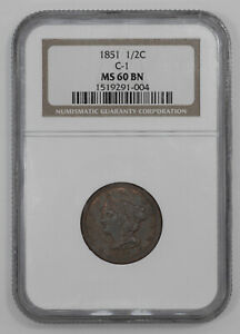 1851 BRAIDED HAIR HALF CENT 1/2C NGC CERTIFIED MS 60 BN MINT UNC BROWN  004