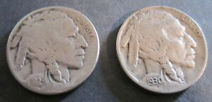 1929 S & 1930 S BUFFALO NICKELS   2 COINS
