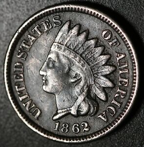 1862 INDIAN HEAD CENT   WITH LIBERTY   NEAR VF FINE