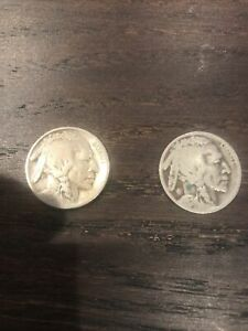 LOT OF TWO  2  BUFFALO NICKELS 1924 P & 1924 D VG RAW US COINS   FIVE CENTS 5C