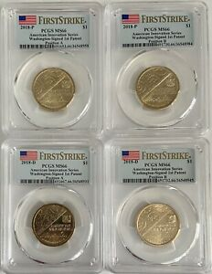 Click now to see the BUY IT NOW Price! PCGS MS66 2018 P&D WASHINGTON 1ST PATENT INNOVATION DOLLAR $1 4 COIN SET POS A&B