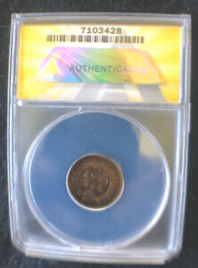 1872 INDIAN HEAD CENT  SHALLOW N VG 8 GRADED SLABBED