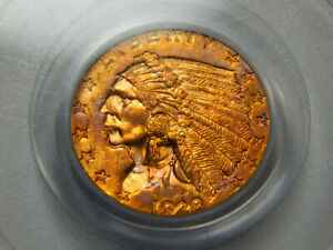 1928 $2.50 GOLD INDIAN QUARTER EAGLE MS 62 PCGS GREAT TONING