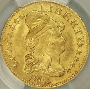 1805 CAPPED BUST RIGHT $5 HALF EAGLE PCGS MS64