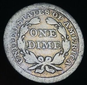 1853 SEATED LIBERTY DIME 10C ARROWS & STARS GOOD DATE 90  SILVER US COIN CC2863