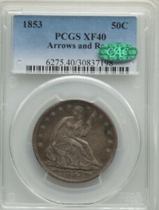 1853 50C ARROWS AND RAYS XF40 PCGS. CAC.