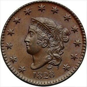 Click now to see the BUY IT NOW Price! 1828 CORONET MATRON LARGE CENT 1C MS65BN PCGS W/CAC PCGS POP 11 CAC POP ONLY 2