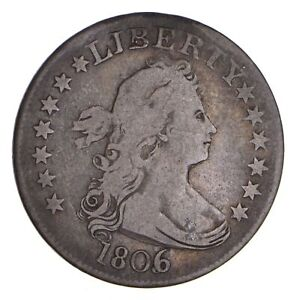 1806   6 OVER 5   DRAPED BUST QUARTER   CIRCULATED  9733