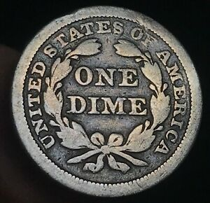 1849 SEATED LIBERTY DIME 10C W/ STARS UNGRADED GOOD DATE US SILVER COIN CC3184