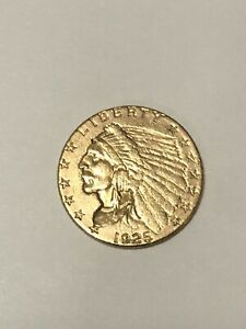1925 D $2.50 DOLLAR UNITED STATES INDIAN HEAD QUARTER EAGLE GOLD COIN $2 1/2