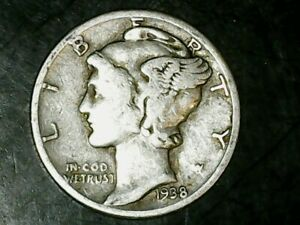 1938 P MERCURY DIME 10C   NICE OLD COIN   90  SILVER US DIME